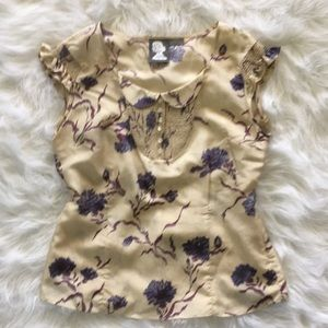 Anthropologie Girls From Savoy Floral Silk Top 8